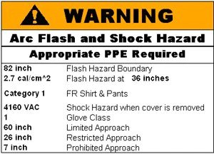 image of an arc flash and shock hazard label